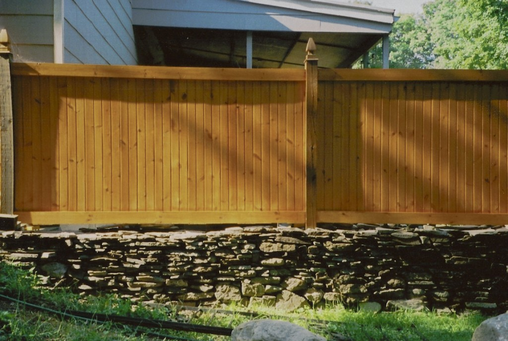 Stone work, patio and privacy fence